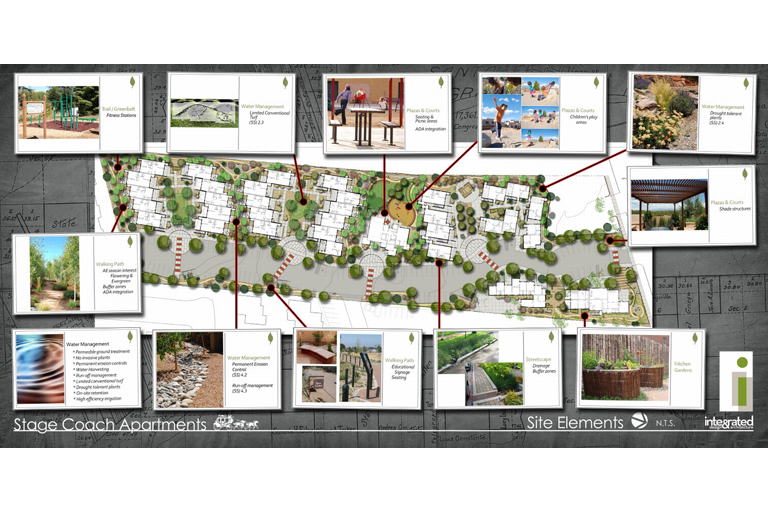 Stage Coach Apartments Affordable Housing Landscape Architecture by Solange Serquis