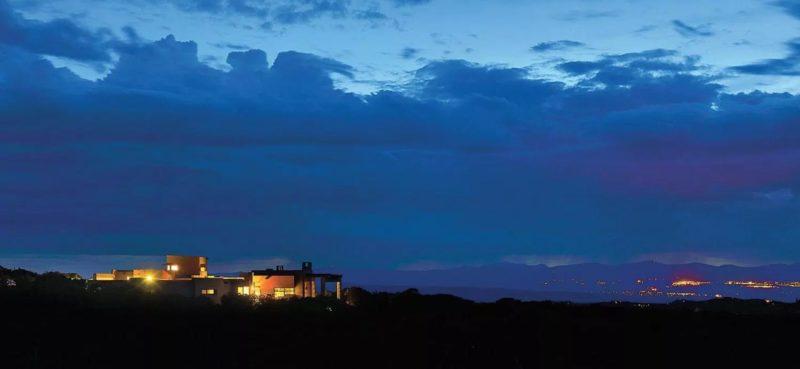 santa fe house at dusk